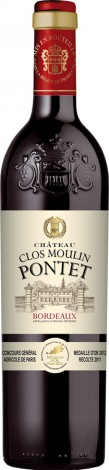 יין בורדו אדום יבש שאטו פונטט עם אריזת עץ